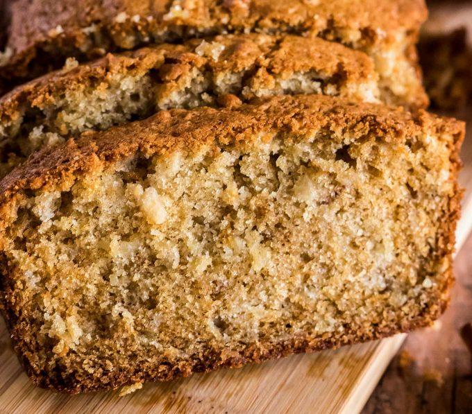 close view of apple cinnamon bread slice