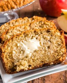 This moist Cinnamon Spiced Apple Bread is the perfect quick bread (no yeast!) for Fall. Bursting with pieces of apples and lots of sweet spice in every bite! #apples #cinnamon #bread #quickbread #applecinnamon #applespice #baking #fallbaking