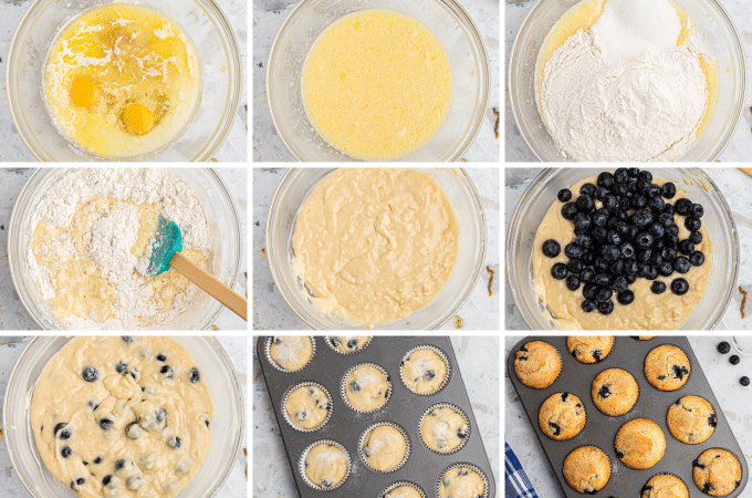 step by step photos of how to make blueberry muffins