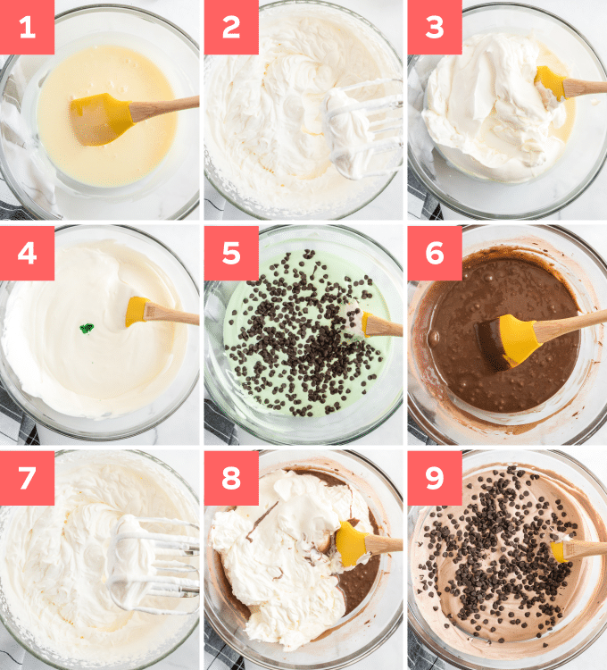 step by step photos of how to make mint ice cream with chocolate