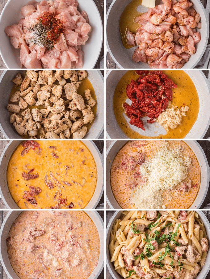 step by step how to make chicken pasta