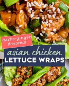 These easy Asian-Style Chicken Lettuce Wraps are SO flavorful, and perfect as a simple dinner recipe, or an appetizer for a party! #chicken #asian #chinese #lettucewraps #lettucecups #chickendinner #dinner #lunch #appetizer #party