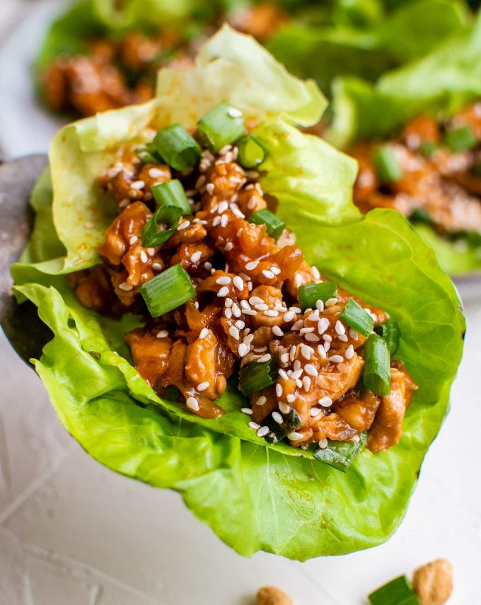 closeup photo of chicken lettuce wrap