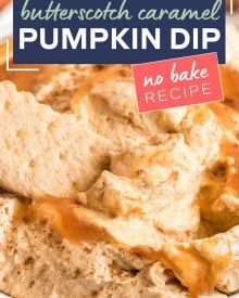 This easy 5 ingredient Caramel Pumpkin Dip is perfect for any Fall gathering like Halloween or Thanksgiving.  Just mix, chill, and serve! #dip #dessert #pumpkin #pumpkinpie #pumpkindip #nobake #dessertrecipes #thanksgiving #halloween #easyrecipe