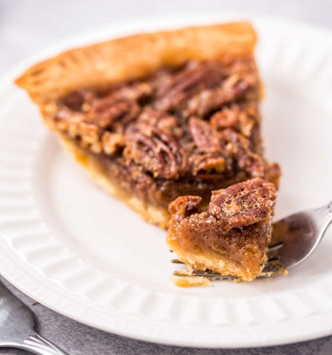 slice of pie with piece on a fork
