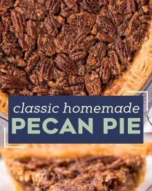 This Pecan Pie recipe is a classic Fall dessert, and a MUST for any Thanksgiving table. Made with just a handful of simple ingredients, the gooey and sugary center, and the crisp nutty top make this the ultimate holiday dessert! #pecanpie #pie #pecan #thanksgiving #dessert #baking #holiday #holidaybaking #southern #homemadepie #fromscratch