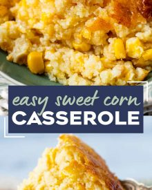 This easy Corn Casserole is a delicious recipe made with sweet corn, cornbread mix, eggs, milk, butter and sugar. Absolutely the perfect side dish for the holidays or family dinner, made with simple, staple ingredients! #corncasserole #cornpudding #jiffycorncasserole #sidedish #side #holidays #thanksgiving #corn