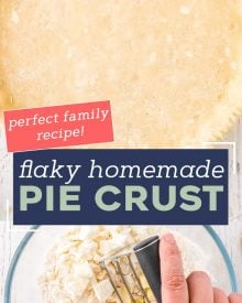 Learn how to make the most incredible and flaky pie crust! Once you make this pie crust from scratch you'll never want to use those pre-made crusts again. Save this recipe for every holiday! #pie #piecrust #homemade #piedough #fromscratch #baking #basicrecipe #holiday #butter #shortening