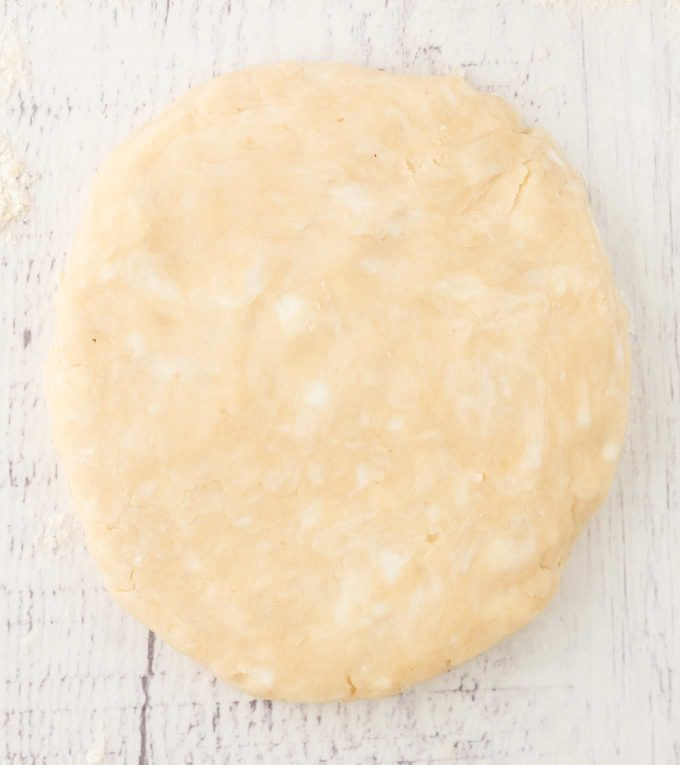 close look at speck of cold fat in disc of pie dough
