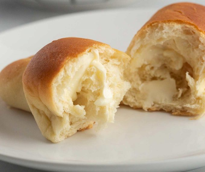 Sliced and buttered crescent roll