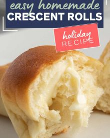 Buttery, soft and flaky, these Homemade Crescent Rolls are easier to make than you think! Perfect rolls for Thanksgiving or a family dinner! #crescentrolls #crescents #dinnerrolls #rolls #thanksgiving #bread #homemaderecipe #yeast