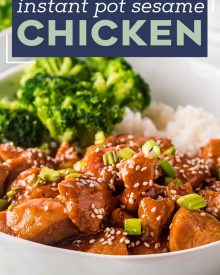 This Instant Pot Sesame Chicken is ready in about 30 minutes.  Tender chicken pieces coated in a glorious sweet sesame sauce with a little kick of spice, better than any takeout! #chicken #sesamechicken #asianchicken #instantpot #pressurecooker #sesame #sweetnspicy #dinner #easyrecipe #chickenrecipe