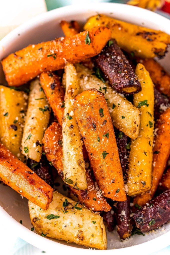 roasted carrots in white bowl