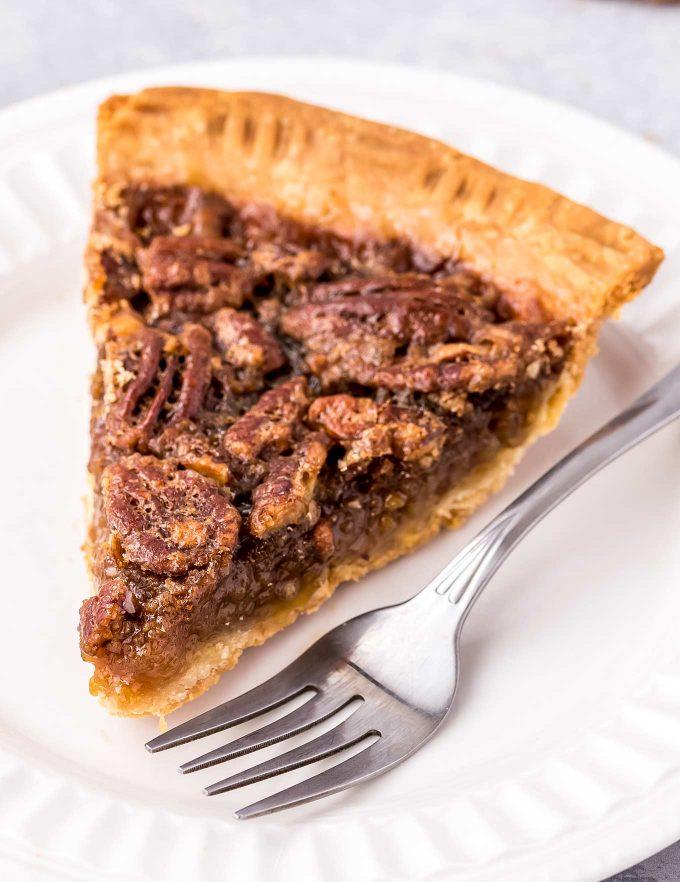 slice of pecan pie with homemade crust