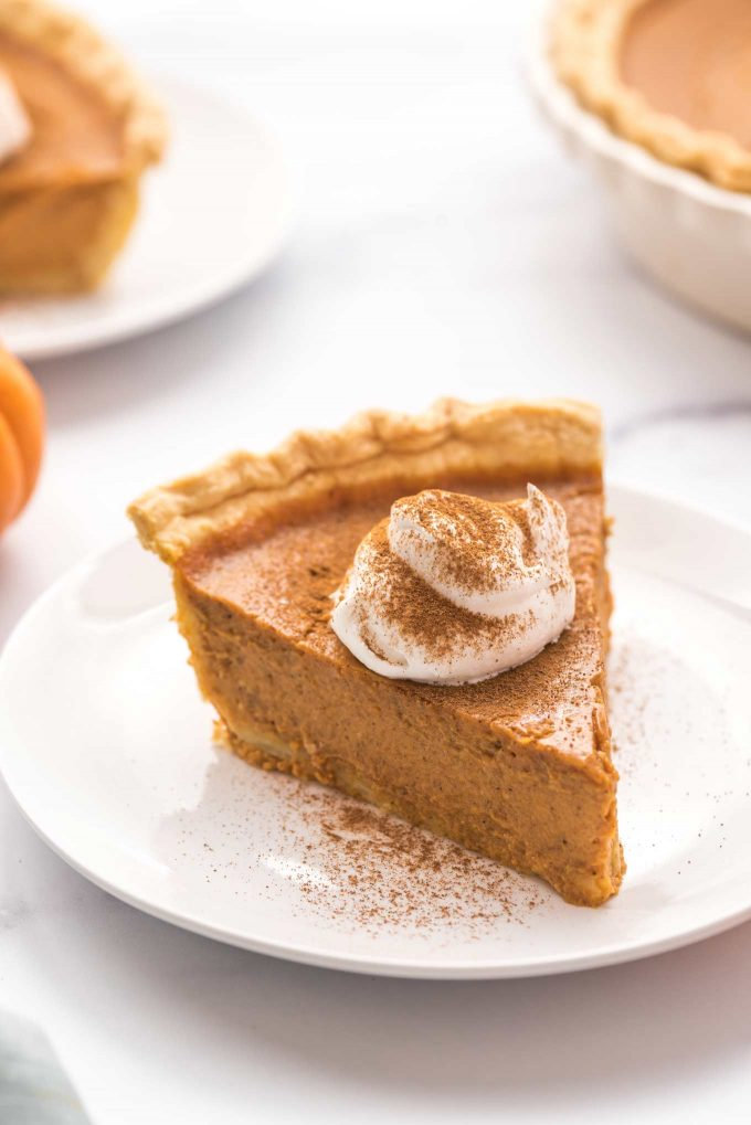 pumpkin pie baked with homemade pie crust