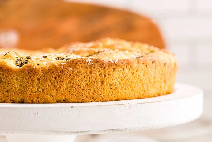Crust of the focaccia bread