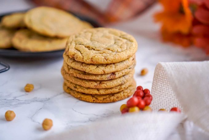 stack of caramel pumpkin cookies