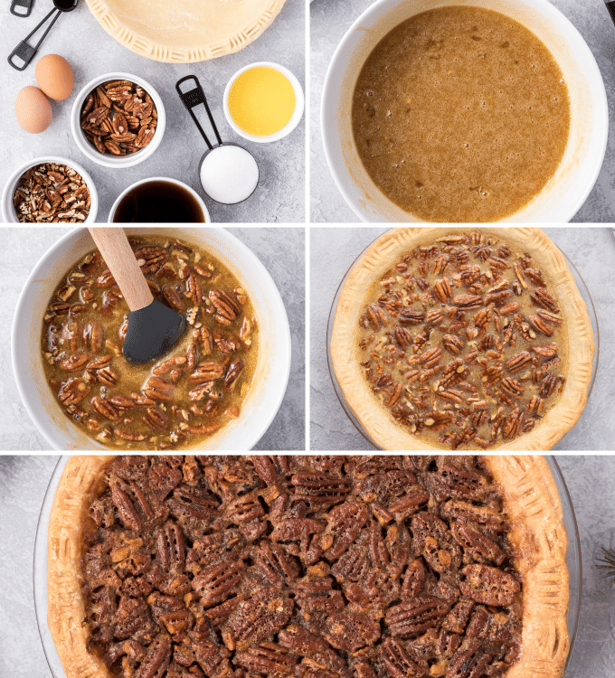 step by step photos of making a pecan pie