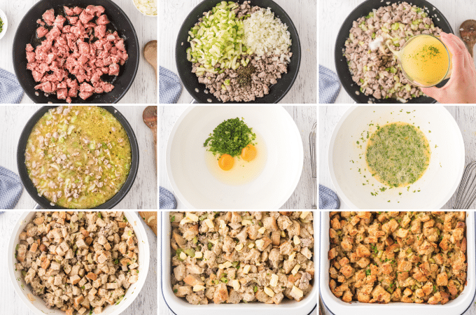 step by step photos of how to make stuffing