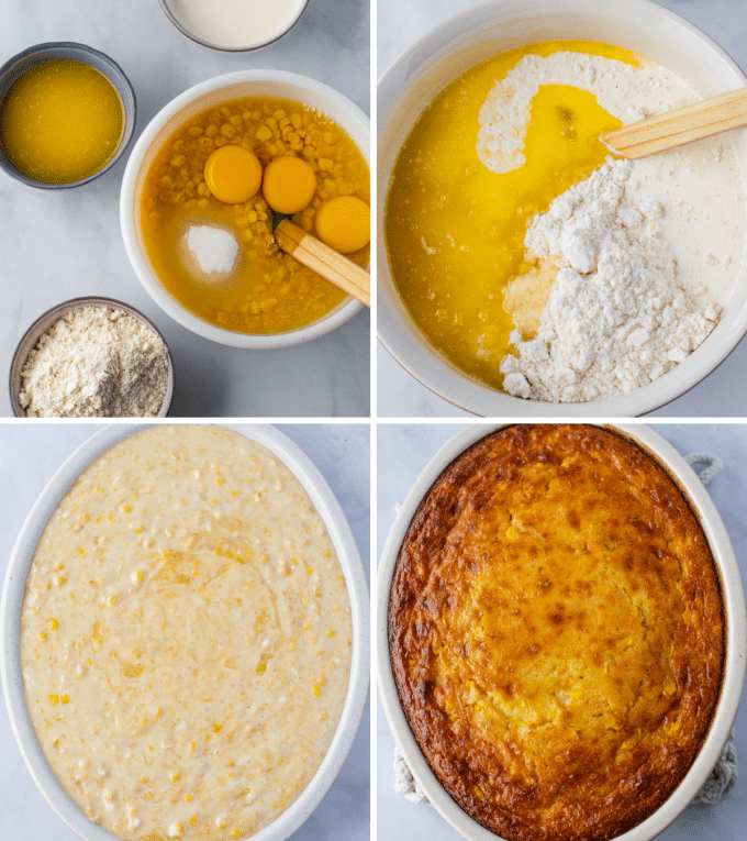 Step by step photos of making corn pudding