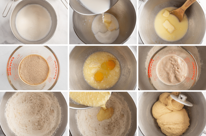 making crescent roll dough in a stand mixer