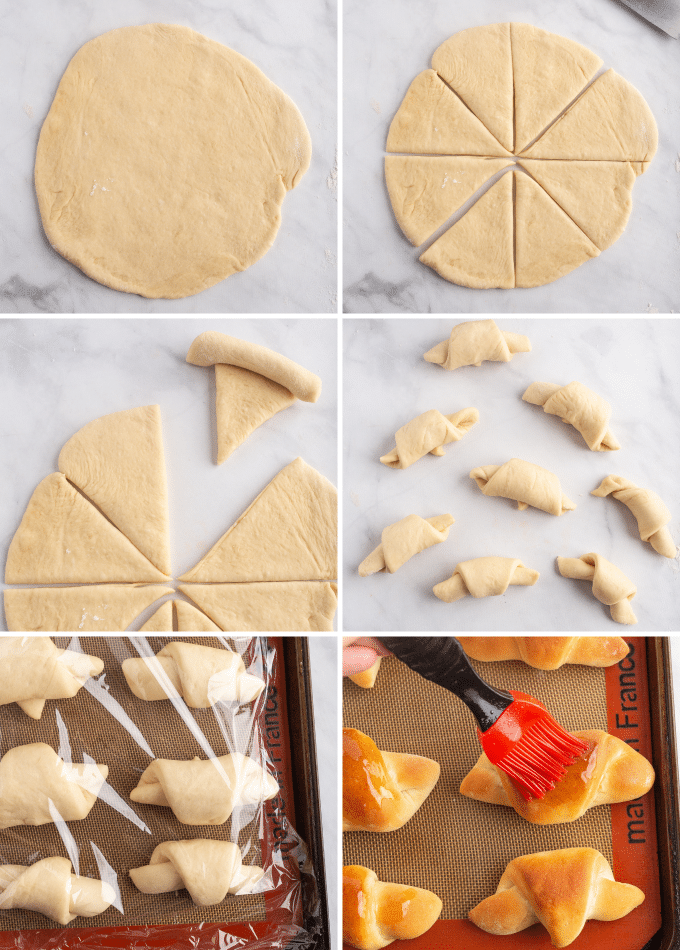 rolling out crescent roll dough and baking