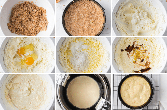 step by step photos of making a pressure cooker cheesecake