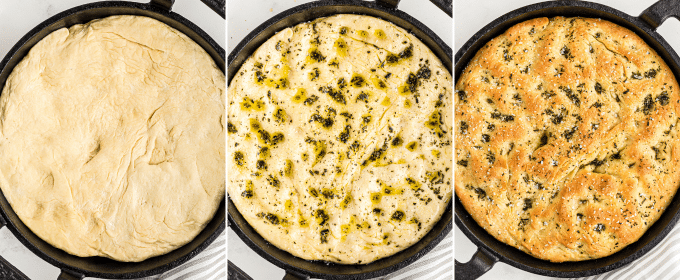 This easy focaccia recipe has a crispy crust, chewy middle, and plenty of herbs and salt in each bite! With the option to let the dough rest for just a few hours, or overnight, this bread recipe is perfect for any dinner or party! #bread #focaccia #rosemary #seasalt #baking #yeast #baked #artisan #homemade