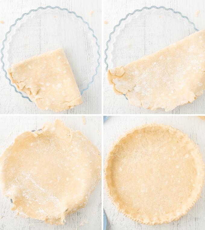 transferring pie crust by folding