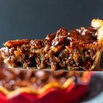 slice of chocolate pecan pie