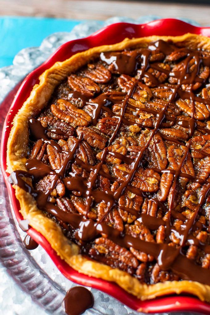 chocolate pecan pie drizzled with melted chocolate