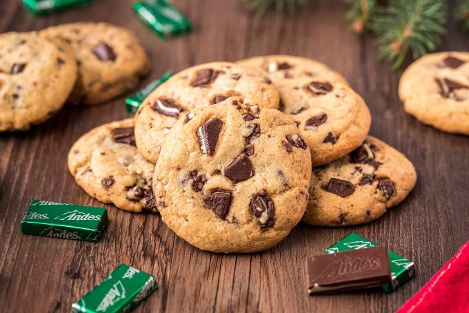 These soft and chewy Andes Mint Cookies are full of chocolate and mint flavor in every single bite! Perfect for a cookie exchange or holiday gifting! #cookies #andes #mint #chocolate #baking #dessert #easyrecipe #holiday #christmas