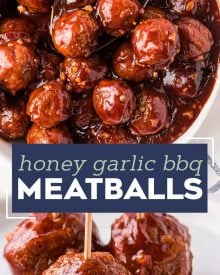 These crowd-pleasing tender meatballs are smothered in a super flavorful honey garlic bbq sauce.  Perfect for parties, this crockpot meatball recipe couldn't be more simple to make! #meatballs #crockpot #slowcooker #honeygarlic #bbq #appetizer #party #honey #garlic #easyrecipe