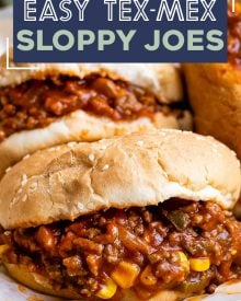 Perfect for quick dinner, these Tex-Mex Sloppy Joes are ready in 30 minutes or less! Made with beef, jalapenos, corn, and zesty spices, these sloppy joes will soon become a new family favorite! #sloppyjoes #texmex #easyrecipe #dinner #kidfriendly #sandwich #onepan #weeknight