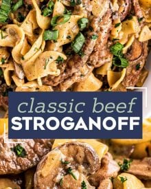 The Ultimate Beef Stroganoff is the most soul-warming comfort food around!  Tender beef strips, mushrooms and onions are smothered in a rich, beefy gravy and tossed with egg noodles.  Ready in about 30 minutes, it's a fabulous weeknight dinner option! #beef #beefstroganoff #stroganoff #comfortfood #dinner #weeknight #30minute #easyrecipe
