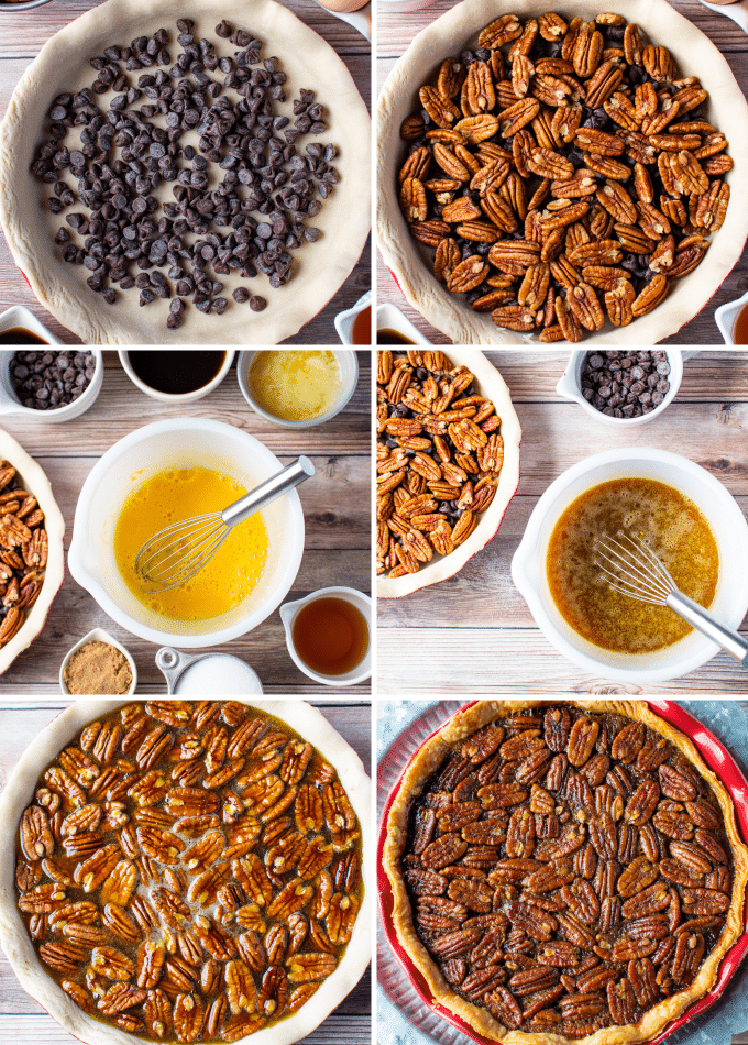 step by step how to make chocolate pecan pie