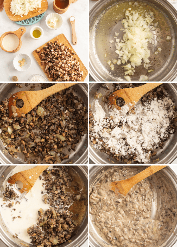 step by step photos for making cream of mushroom soup