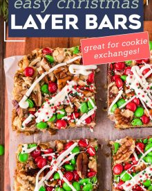 These easy Christmas 7 Layer Bars are great to make for the holidays! Literally layer upon layer of deliciousness, this classic dessert goes by many names, such as magic cookie bars, hello dolly bars, etc... but no matter what you call them, they'll be a crowd-pleasing dessert! #7layerbars #magiccookiebars #hellodolly #kitchensink #sevenlayerbars #cookiebars #dessert #baking #holiday #christmas