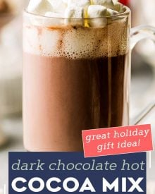 This Dark Hot Chocolate Mix is made with just a handful of simple ingredients, such as dark cocoa powder, powdered milk, sugar, and powdered creamer.  Top with mini chocolate chips and marshmallows and pour yourself a steaming hot mug of cocoa in just a minute or two! #hotchocolate #hotcocoa #darkchocolate #chocolate #cocoa #hotdrink #winter #holidays #homemademix #homemadegift