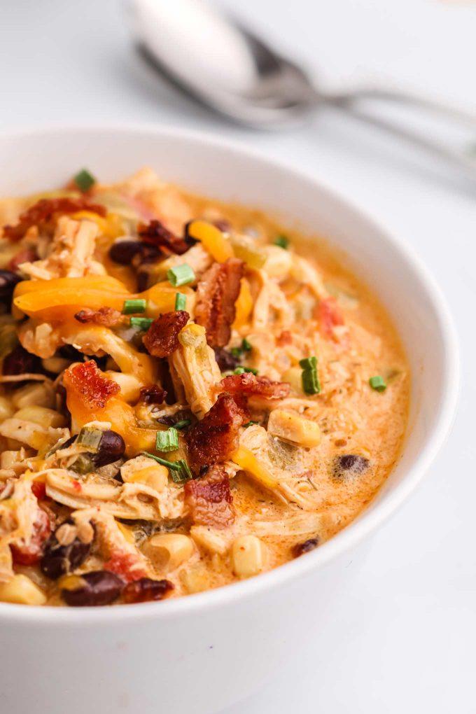 bowl of crack chicken chili