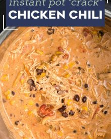 This ultra creamy Crack Chicken Chili is made in about 30 minutes in the Instant Pot. Made with shredded chicken, beans, cheese, ranch seasoning and plenty of spice, it's the perfect weeknight dinner recipe the whole family will LOVE! #chickenchili #crackchicken #instantpot #pressurecooker #ranch #dinner #easyrecipe #weeknight
