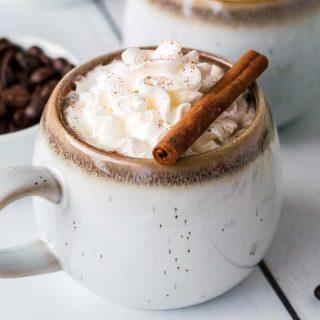 maple cinnamon latte with cinnamon stick
