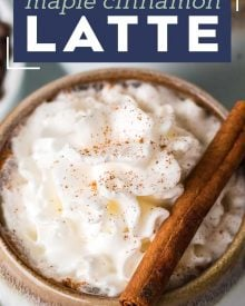 Get a quick energy boost by whipping up this delicious Maple Cinnamon Latte!  Easy to make at home with tips for making your own steamed milk/foam and coffee instructions in case you don't have access to espresso. #latte #maple #cinnamon #coffee #homebrew #coffeeshop #homemade #easyrecipe