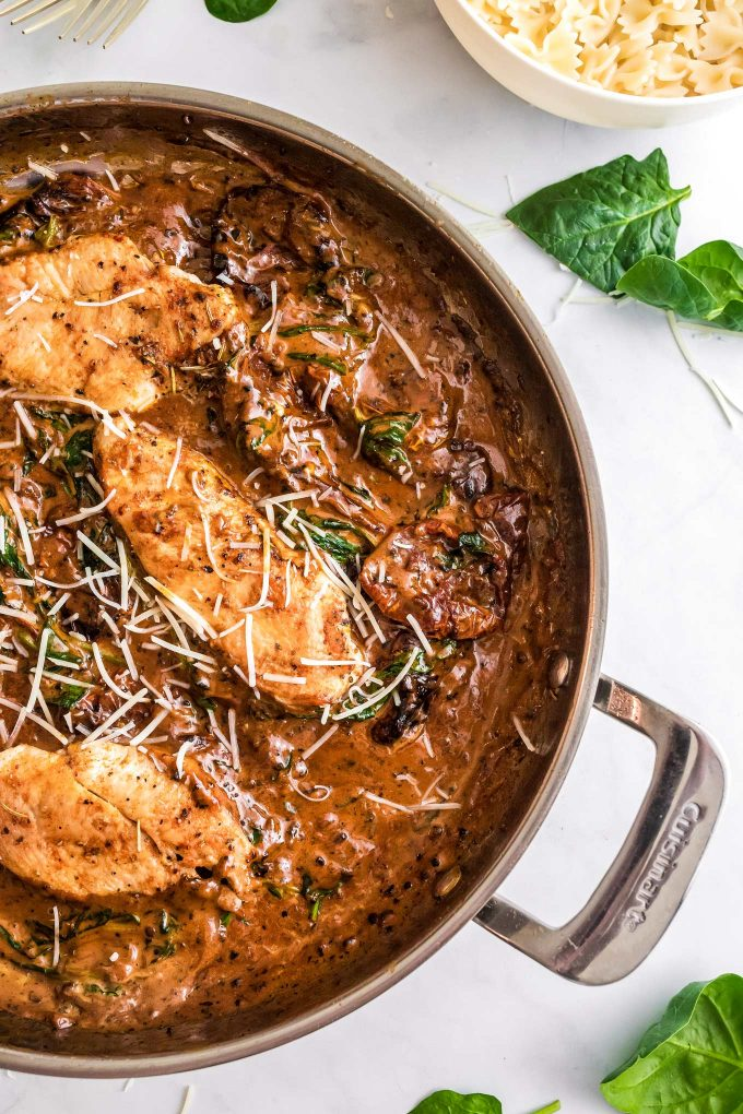 tuscan chicken in skillet from overhead