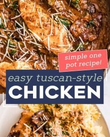This One Pan Tuscan Chicken is a quick and easy one-pot meal that's sure to be a family favorite! Juicy chicken, a creamy sauce made with bursts of sun dried tomatoes, Parmesan cheese and spinach, and it's ready in about 30 minutes, making it a great weeknight dinner option. #chicken #tuscan #Italian #chickenbreast #chickenrecipes #onepot #onepan #dinner #easyrecipe #30minutemeal