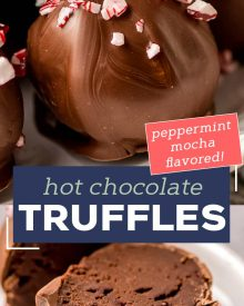 These Peppermint Mocha Hot Chocolate Truffles are the perfect no-bake treat! Yummy as is, or add one to a mug and pour hot milk over the top to make the most luscious hot chocolate ever! Using simple ingredients, you can have these whipped up in no time! #truffles #chocolate #holidayrecipes #christmas #hotchocolate #dessertrecipe #easydessert #trufflerecipes #hotcocoa #holiday #easyrecipe #hotchocolatebombs