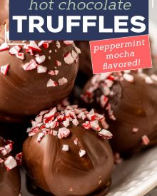 These Peppermint Mocha Hot Chocolate Truffle Bombs are the perfect no-bake treat! Add one to a mug and pour hot milk over the top to make the most luscious hot chocolate ever! Using simple ingredients, you can have these whipped up in no time!#truffles #chocolate #holidayrecipes #christmas #hotchocolate #dessertrecipe #easydessert #trufflerecipes #hotcocoa #holiday #easyrecipe #hotchocolatebombs