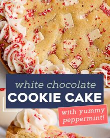 This Peppermint Sugar Cookie Cake is soft and chewy in the center, crisp around the edges, and filled with plenty of white chocolate/peppermint chunks.  The silky peppermint vanilla buttercream makes this a perfect holiday dessert! #sugarcookie #cookiecake #peppermint #whitechocolate #cookie #cake #holiday #dessert #dessertrecipe #easyrecipe #christmas #baking