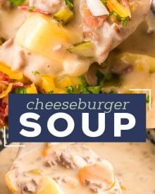 This easy Slow Cooker Cheeseburger Soup is SO delicious and sure to be a new family favorite dinner! It's classic American comfort food, in soul-warming soup form. #cheeseburgersoup #cheeseburger #soup #loadedcheeseburgersoup #cheesysoup #slowcooker #crockpot #beef