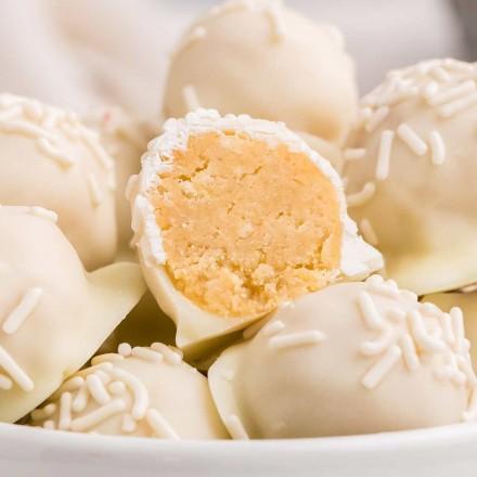 sugar cookie truffles in white bowl